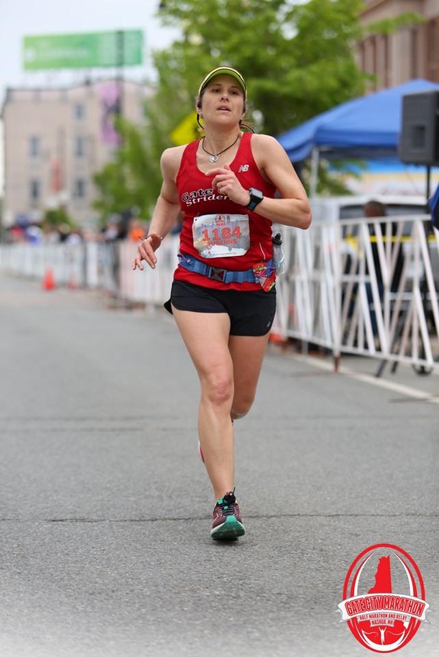 Susanne Carpenter running the Gate City Half in 2018