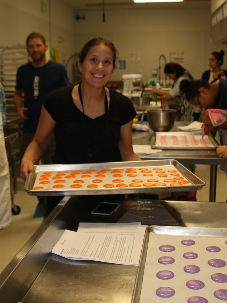 Susanne baking French macaroons