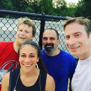 Shelby with her running peeps Brian Spinks, Matt Shapiro, and her husband Mark Adams.