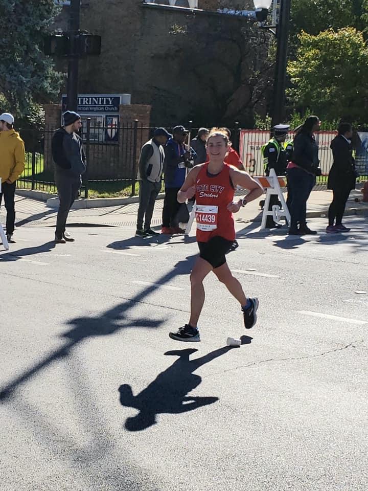Kato all smiles while running the Chicago Marathon!