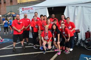 Melissa with the Gate City Marathon medical tent team